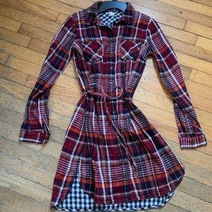 Plaid Long-Sleeve Shirt Dress